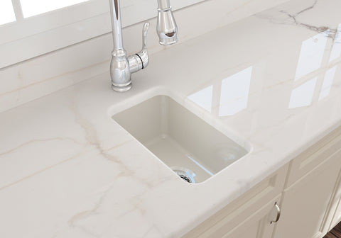 "BOCCHI Sotto 12"" Fireclay Undermount Single Bowl Bar Sink, Biscuit, 1358-014-0120 Lifestyle Image 