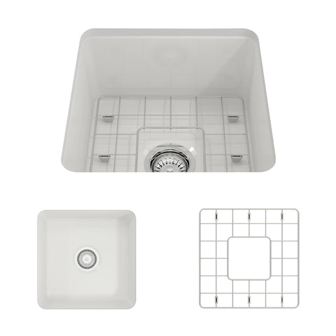 "BOCCHI Sotto 18"" Fireclay Undermount Single Bowl Kitchen Sink, White, 1359-001-0120 Showcase Image 