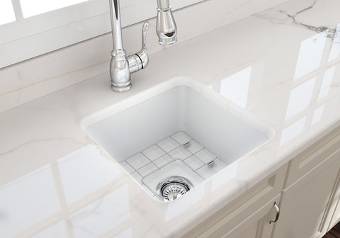 "BOCCHI Sotto 18"" Fireclay Undermount Single Bowl Kitchen Sink, Matte White, 1359-002-0120 Lifestyle Image 