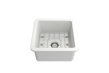 "BOCCHI Sotto 18"" Fireclay Undermount Single Bowl Kitchen Sink, Matte White, 1359-002-0120 Top View 