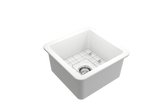 "BOCCHI Sotto 18"" Fireclay Undermount Single Bowl Kitchen Sink, Matte White, 1359-002-0120 Angled Top View 