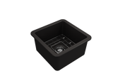 "BOCCHI Sotto 18"" Fireclay Undermount Single Bowl Kitchen Sink, Matte Black, 1359-004-0120 Top View 