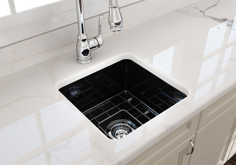 "BOCCHI Sotto 18"" Fireclay Undermount Single Bowl Kitchen Sink, Black, 1359-005-0120 Lifestyle Image 