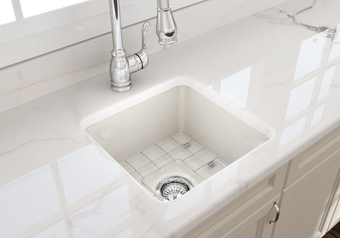 "BOCCHI Sotto 18"" Fireclay Undermount Single Bowl Kitchen Sink, Biscuit, 1359-014-0120 Lifestyle Image 