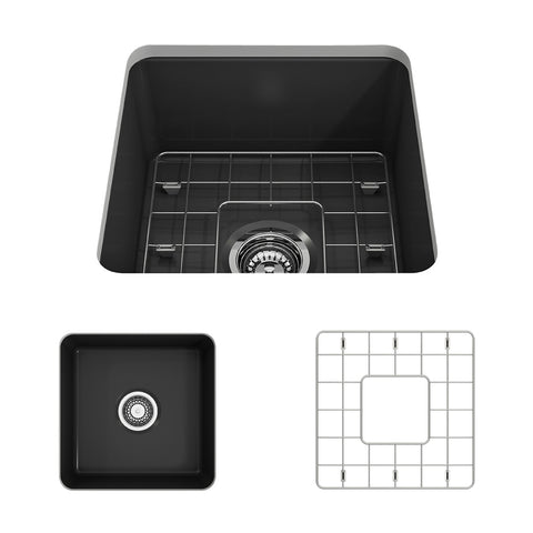 "BOCCHI Sotto 18"" Fireclay Undermount Single Bowl Kitchen Sink, Matte Dark Gray, 1359-020-0120 Showcase Image 