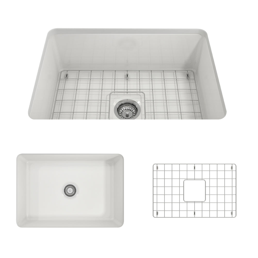 Bocchi Sotto 27 Fireclay Undermount Kitchen Sink White 1360 001 0120 The Sink Boutique