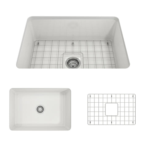 "BOCCHI Sotto 27"" Fireclay Undermount Single Bowl Kitchen Sink, White, 1360-001-0120 Showcase Image 