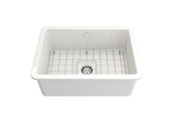 "BOCCHI Sotto 27"" Fireclay Undermount Single Bowl Kitchen Sink, White, 1360-001-0120 Straight View 