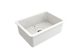 "BOCCHI Sotto 27"" Fireclay Undermount Single Bowl Kitchen Sink, White, 1360-001-0120 Top View 
