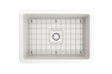 "BOCCHI Sotto 27"" Fireclay Undermount Single Bowl Kitchen Sink, White, 1360-001-0120 Top View with Grid 