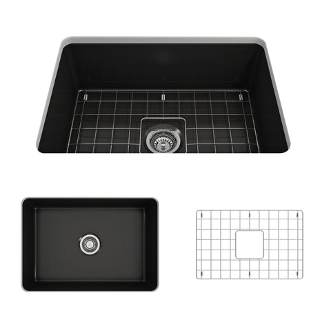 "BOCCHI Sotto 27"" Fireclay Undermount Single Bowl Kitchen Sink, Matte Black, 1360-004-0120 Showcase Image 
