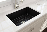 "BOCCHI Sotto 27"" Fireclay Undermount Single Bowl Kitchen Sink, Matte Black, 1360-004-0120 Lifestyle Image 