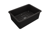 "BOCCHI Sotto 27"" Fireclay Undermount Single Bowl Kitchen Sink, Matte Black, 1360-004-0120 Top View 