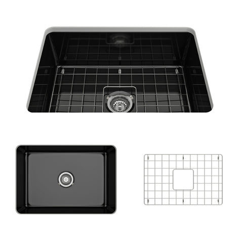 "BOCCHI Sotto 27"" Fireclay Undermount Single Bowl Kitchen Sink, Black, 1360-005-0120 Showcase Image 