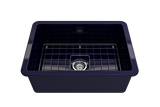 "BOCCHI Sotto 27"" Fireclay Undermount Single Bowl Kitchen Sink, Sapphire Blue, 1360-010-0120 Straight View 