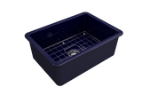"BOCCHI Sotto 27"" Fireclay Undermount Single Bowl Kitchen Sink, Sapphire Blue, 1360-010-0120 Top View 