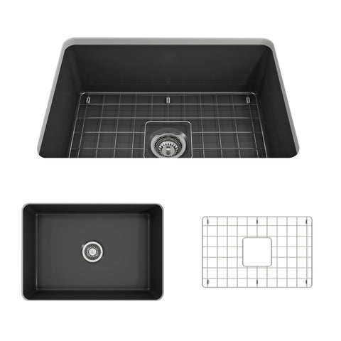 "BOCCHI Sotto 27"" Fireclay Undermount Single Bowl Kitchen Sink, Matte Dark Gray, 1360-020-0120 Showcase Image 