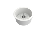 "BOCCHI Sotto 19"" Fireclay Undermount Single Bowl Kitchen Sink, Matte White, 1361-002-0120 Top View 