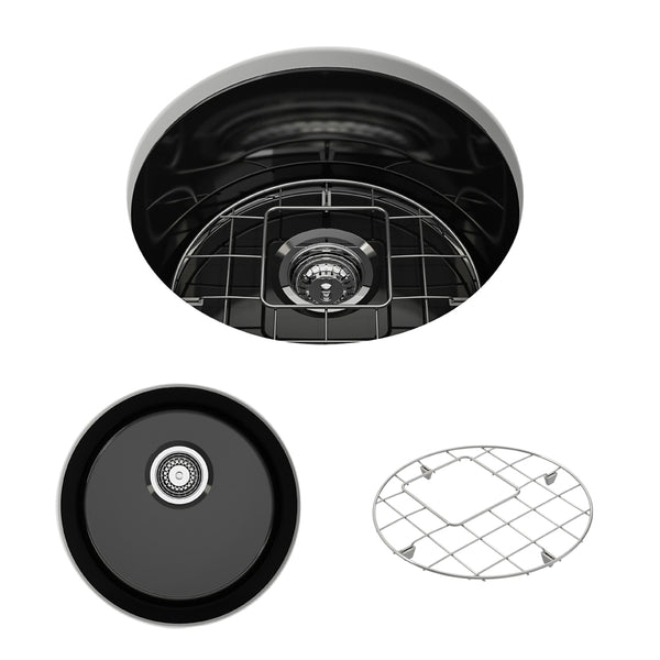 "BOCCHI Sotto 19"" Fireclay Undermount Single Bowl Kitchen Sink, Black, 1361-005-0120 Showcase Image 
