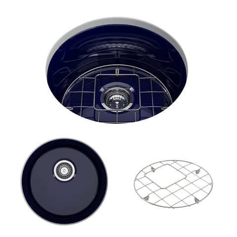 "BOCCHI Sotto 19"" Fireclay Undermount Single Bowl Kitchen Sink, Sapphire Blue, 1361-010-0120 Showcase Image 
