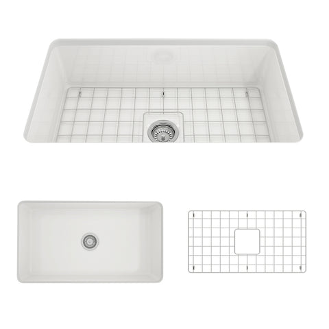 "BOCCHI Sotto 32"" Fireclay Undermount Single Bowl Kitchen Sink, White, 1362-001-0120 Showcase Image 