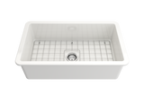 "BOCCHI Sotto 32"" Fireclay Undermount Single Bowl Kitchen Sink, White, 1362-001-0120 Straight View 