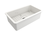 "BOCCHI Sotto 32"" Fireclay Undermount Single Bowl Kitchen Sink, White, 1362-001-0120 Top View 