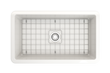 "BOCCHI Sotto 32"" Fireclay Undermount Single Bowl Kitchen Sink, White, 1362-001-0120 Top View with Grid 