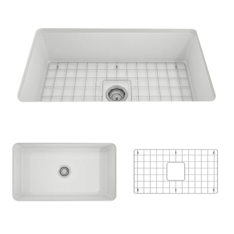 "BOCCHI Sotto 32"" Fireclay Undermount Single Bowl Kitchen Sink, Matte White, 1362-002-0120"