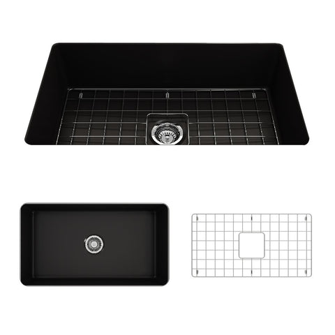 "BOCCHI Sotto 32"" Fireclay Undermount Kitchen Sink, Single Bowl, Matte Black, 1362-004-0120"