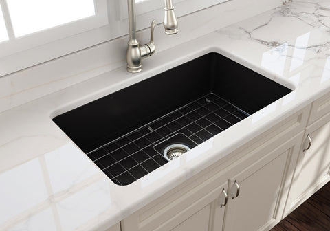 "BOCCHI Sotto 32"" Fireclay Undermount Single Bowl Kitchen Sink, Matte Black, 1362-004-0120"