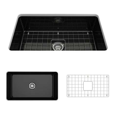 "BOCCHI Sotto 32"" Fireclay Undermount Single Bowl Kitchen Sink, Black, 1362-005-0120 Showcase Image 