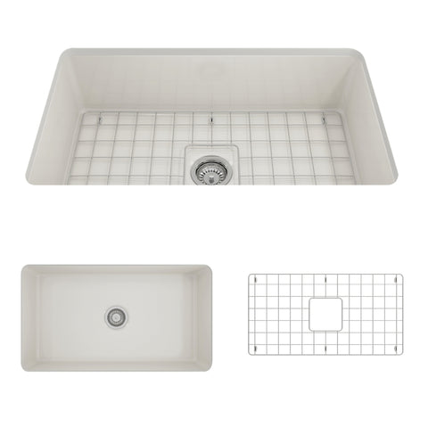 "BOCCHI Sotto 32"" Fireclay Undermount Single Bowl Kitchen Sink, Biscuit, 1362-014-0120 Showcase Image 