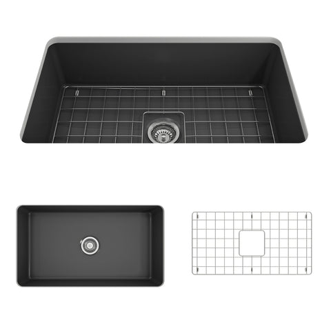 "BOCCHI Sotto 32"" Fireclay Undermount Single Bowl Kitchen Sink, Matte Dark Gray, 1362-020-0120 Showcase Image 