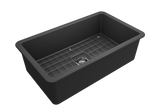 "BOCCHI Sotto 32"" Fireclay Undermount Single Bowl Kitchen Sink, Matte Dark Gray, 1362-020-0120 Angled Top View 