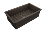 "BOCCHI Sotto 32"" Fireclay Undermount Single Bowl Kitchen Sink, Matte Brown, 1362-025-0120 Top View 