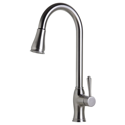 ALFI Traditional Solid Brushed Stainless Steel Pull Down Kitchen Faucet, AB2043-BSS - The Sink Boutique