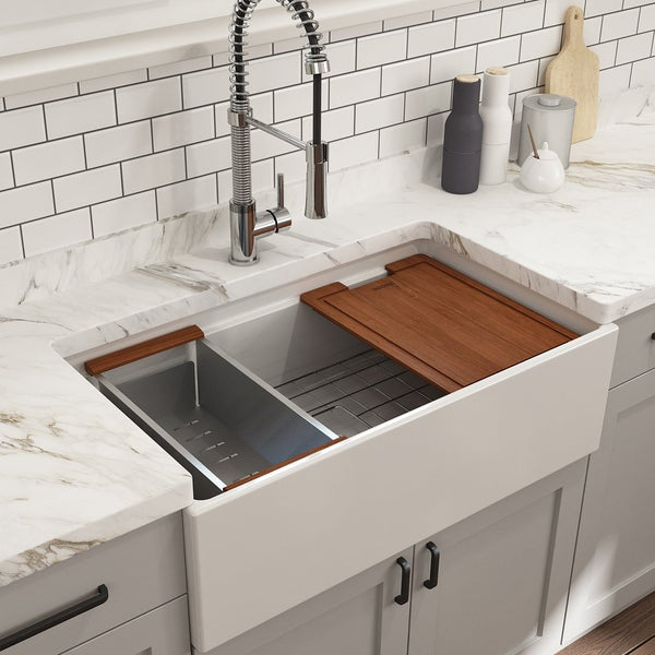 "Bocchi Contempo 33"" Fireclay Workstation Farmhouse Sink with Accessories, White, 1504-001-0120"