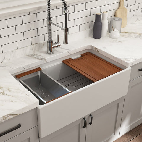 "Bocchi Contempo 33"" Fireclay Workstation Farmhouse Sink with Accessories, Matte White, 1504-002-0120"
