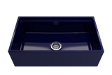 "Bocchi Contempo 33"" Fireclay Workstation Farmhouse Sink with Accessories, Sapphire Blue, 1504-010-0120"
