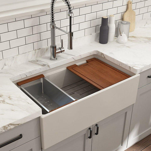 "Bocchi Contempo 33"" Fireclay Workstation Farmhouse Sink with Accessories, Biscuit, 1504-014-0120"