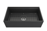 "Bocchi Contempo 33"" Fireclay Workstation Farmhouse Sink with Accessories, Matte Dark Gray, 1504-020-0120"