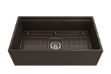 "Bocchi Contempo 33"" Fireclay Workstation Farmhouse Sink with Accessories, Matte Brown, 1504-025-0120"