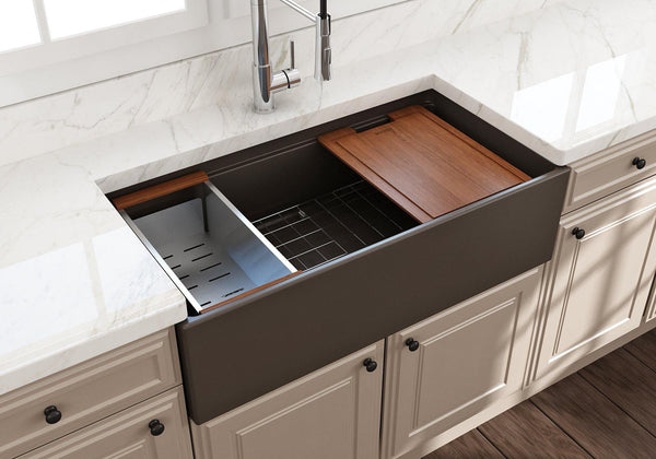 "Bocchi Contempo 36"" Fireclay Workstation Farmhouse Sink with Accessories, Matte Brown, 1505-025-0120"