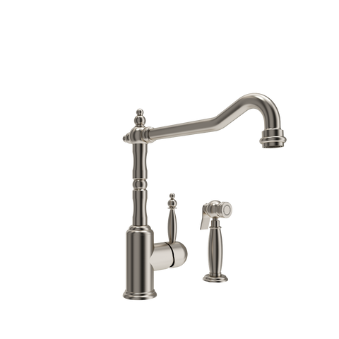 BOCCHI Lesina Kitchen Faucet with Side Spray, Brushed Nickel, 2001 0001 BN