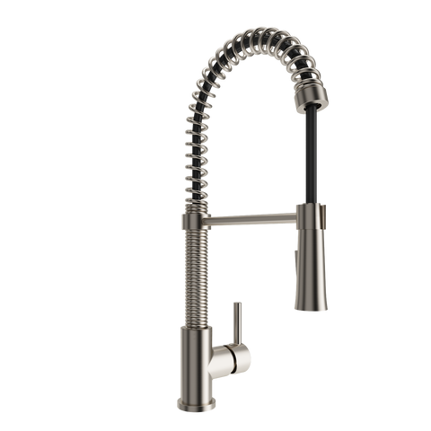 BOCCHI Livenza Spiral Pull-Down Spray Kitchen Faucet, Brushed Nickel, 2014 0001 BN - The Sink Boutique