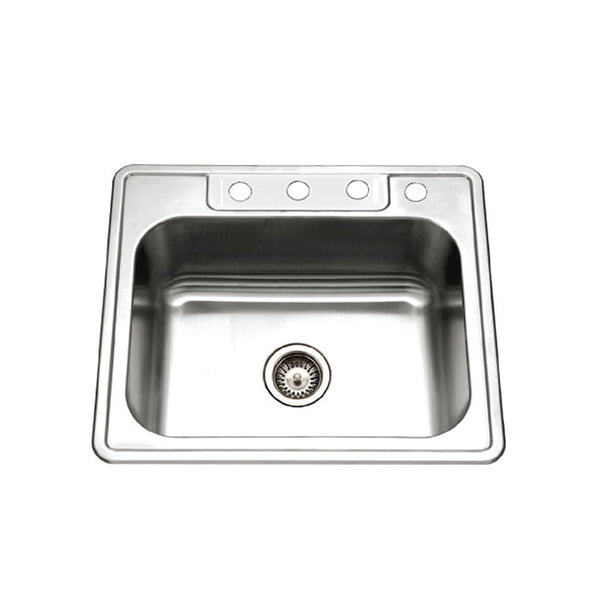 "Houzer 25"" Stainless Steel Topmount Single Bowl Kitchen Sink, 2522-9BS4-1"
