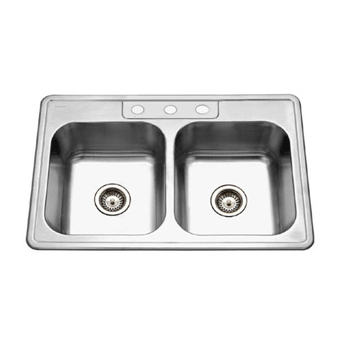"Houzer 33"" Stainless Steel Topmount Double Bowl Kitchen Sink, 3322-8BS3-1"