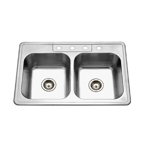 "Houzer 33"" Stainless Steel Topmount Double Bowl Kitchen Sink, 3322-8BS4-1"