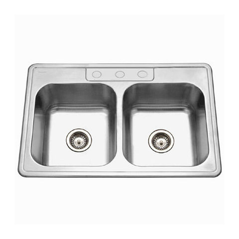 "Houzer 33"" Stainless Steel Topmount Double Bowl Kitchen Sink, 3322-9BS3-1"